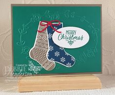 September Free Card Kit of the Month using Stampin' Up! Hang Your Stocking, Christmas Stockings Thinlits Dies and Pretty Paisleys Embossing Folder. Debbie Henderson, Debbie's Designs.
