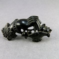 Victorian Antique Vulcanite Brooch Mourning Jewelry by OldLockets