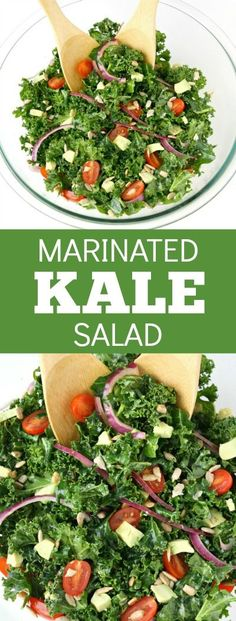 Kale Salad The salad that makes us CRAVE kale - we make it twice a week! So healthy, quick & easy, and absolutely delicious!The salad that makes us CRAVE kale - we make it twice a week! So healthy, quick & easy, and absolutely delicious! Kale Salad Recipes, Raw Food Recipes, Vegetarian Recipes, Cooking Recipes, Healthy Recipes, Kale Salads, Easy Kale Recipes, Kale Avocado Salad, Keto Recipes