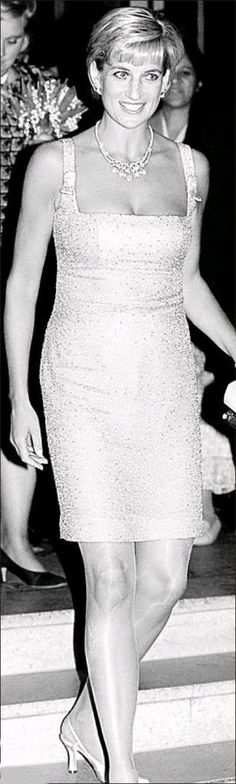 Diana, Princess Of Wales With Lady Pamela Harlech Attends The Royal Gala Performance Of'swan Lake' At The Royal Albert Hall Wearing Dress By Fashion Designer Jacques Azagury And Shoes By Jimmy Choo.