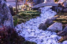 Japanese garden, granit bridge, moss, tea garden, Finnland