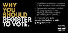 Tweeted by @SheffCouncil - There's 60,000+ students in Sheffield, we want as many as possible to #RegisterToVote PL RT https://www.gov.uk/register-to-vote …