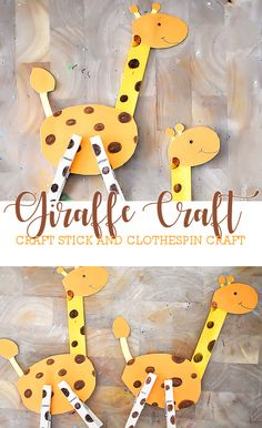 How to make our craft stick giraffe craft with large yellow craft sticks, c Safari Animal Crafts, Giraffe Crafts, Animal Crafts For Kids, Crafts For Kids To Make, Toddler Crafts, Vbs Crafts, Arts And Crafts Projects, Craft Stick Crafts, Preschool Crafts