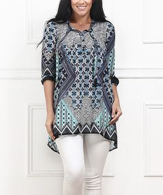 Turquoise & Black Suzani Hi-Low Button-Front Tunic - Plus #zulilyfinds