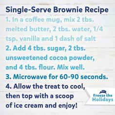 Easy microwave single-serve Brownie recipe.