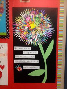 Whole class project: flower made with hand cut outs. Class Projects, School Projects, Spring Art Projects, Church Bulletin Boards, Dr Seuss Bulletin Board, Spring Bulletin Boards, Kindness Bulletin Board, Counseling Bulletin Boards, April Bulletin Board Ideas