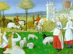 «Святая Маргарита обращает на себя внимание римского префекта» — сюжет из «Золотой легенды», миниатюра из «Часослова Этьена Шевалье»