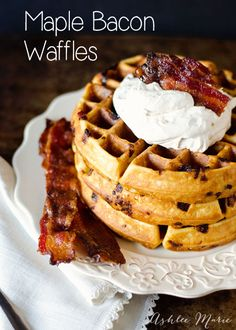 If you love breakfast you will love these waffles. The Maple whipped cream is a delicious addition - AshleeMarie.com