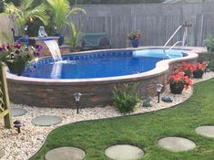 Oval Above Ground Pools, Best Above Ground Pool, Above Ground Swimming Pools, Swimming Pools Backyard, In Ground Pools, Backyard Hill Landscaping, Above Ground Pool Landscaping, Small Backyard Patio, Backyard Play