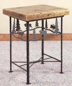 1000 images about wrought iron table legs on pinterest for Wood coffee table with wrought iron legs