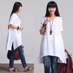 Holgada blusa camisa de lino para mujer WomenC por deboy2000