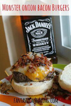 Monster Onion Bacon Burger | www.fantasticalsharing.com | #JackDaniels #bacon #burger