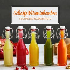 5 vitamingeladene Ingwer Shots - Detox drinks to cleanse Easy Detox Cleanse, Cleanse Recipes, Juice Cleanse, Smoothie Detox, Healthy Smoothies, Healthy Detox, Colon Cleanse Drinks, Detox Drink Before Bed, Wellness Shots