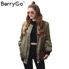 BerryGo Zipper army green bomber jacket women 2016 autumn winter pilot jacket casual outerwear Padded badge basic jacket coat
