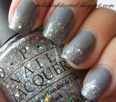 Gray nail polish with silver glitter gradient. Nice for holiday parties and New Years.