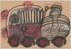 Badari, Fausto. sans titre, 2011  pastel gras sur papier  70 x 102 cm  © crédit photographique  Collection de l'Art Brut, Lausanne