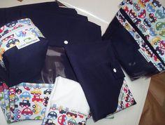 Kit bebê 10 pçs - 4 saquinhos para roupa limpa mod. envelope - 1 saco roupa suja para 2 trocas ( GG) - 1 Porta Tenis - Porta remedio - 1 Porta fralda para 8 fraldas - 1 toalhinha de boca - 1 Porta carteira de vacina