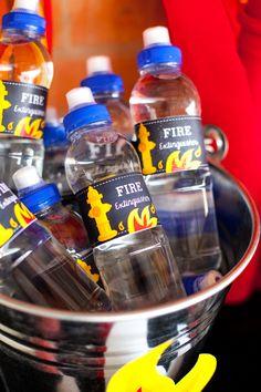 Fireman Party Water Bottle Labels