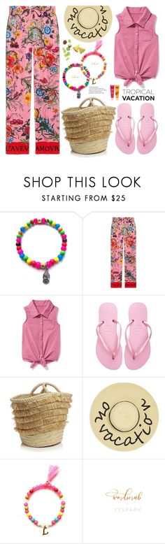 """""""Welcome to Paradise: Tropical Vacation"""" by samra-bv ❤ liked on Polyvore featuring Gucci, Old Navy, Havaianas, Caterina Bertini, August Accessories, contestentry, TropicalVacation, polyvoreset and shopjewelry"""