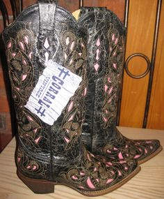 Rivertrail Mercantile - Corral Boots Black Cognac Pink Goat Laser Overlay, $244.99 (http://www.rivertrailmercantile.com/corral-boots-black-cognac-pink-goat-laser-overlay/) I have these in RED! LOVE LOVE LOVE