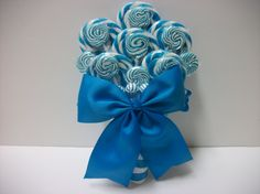 "Click here for more Lollipop Wedding Items! Bridal Lollipop Bouquet $69.99, Cute Light Blue Lollipop Bouquet, Wedding Bouquet, Alternative Wedding Bouquet, Bridal Bouquet, Rehearsal Dinner, Baby Shower Bouquet, Custom Bouquet(Design patent pending, please do not add to ""Craft"" boards)"