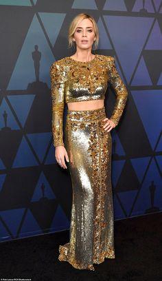 Emily Blunt in Peter Dundas Governors Awards, Arrivals, Los Angeles, USA – 18 Nov 2018 Oscar Dresses, Gala Dresses, Red Carpet Dresses, Nice Dresses, Wedding Dresses, John Krasinski, Emily Blunt, Gold Gown, Gold Dress