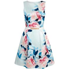 Yumi Rose Print Satin Party Dress ($130) ❤ liked on Polyvore featuring dresses, mint, women, floral cocktail dress, skater dress, mint green cocktail dress, white floral dress and mint green dress