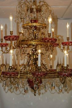 Vintage Italian Brass Crystal 3 Tier Chandelier Red Cut Lead Crystal Bobashays | eBay