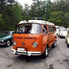 Liked on InstaGram: - Break. on the mountain road... :-) 軽井沢キャラバンの時の。(^_^) - #VolksWagen #VW #OldVW #AircooledVW #VWbulli #Type2  #BUS #LateBus #Baywindow #WESTFALIA #VWwesty #VWCamper #CampMobile #Camper #1974 #Orange #VWバス #ワーゲンバス #タイプ2 #ウエストファリア #ウエスティー #キャンピングカー #キャンパー #レイトバス #オレンジ #ゴキゲンワーゲン #Beetle #Ghia #ビートル