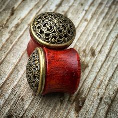 """Organic Vintage Gold Mandala Bloodwood Plugs Gauges for Stretched Ears - Sizes 1/2"""" (13mm) & 9/16"""" (14mm)/ Wood"""