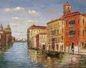 Italian MADE to ORDER Venice Village Original Oil panting Palette Knife Handmade Home decor colourful Canal Big dusk sky ART by Marchella