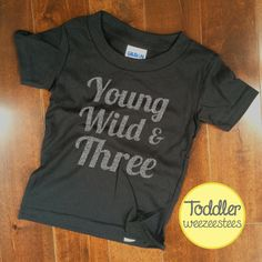 3 Year Old Birthday Shirt in SILVER GLITTER!! The perfect gift for that young, wild and three year old in your life! Maybe its your son or daughter