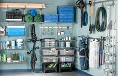 Revamping your garage could be as easy as clearing out the clutter! Add bike racks, and other wall storage to your garage. This is a quick upgrade, plus it makes your garage look more open (in turn. Clean Garage, Diy Garage, Organized Garage, Garage Bike, Garage Tools, How To Organize Garage, Garage Paint, Yard Tools, Small Garage