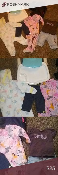 """A Baby Bundle It's a combination of two sleepers, a cute little pair of jeans a pair of stretch pants and a little t-shirt. Then it comes with an I Baby backpack , and a food tray that""""s dish washer safe. They're all in good condition. Matching Sets"""