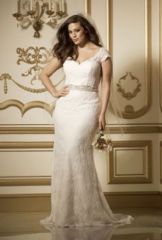 "Style 11523, ""Vesta"" lace bateau neckline with soft A-line skirt"