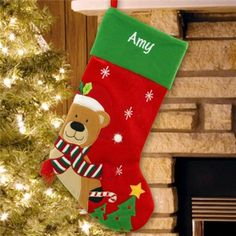 216dca1788f1f Personalized Embroidered Teddy Bear Christmas Stocking.   personalizedchristmasstockingsforkids Target Christmas Stockings