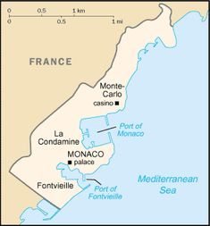 Map of Monaco. Monaco fascinates me, wouldn't mind visiting it someday. Monte Carlo Casino, Prince Of Monaco, Geography For Kids, Around The World In 80 Days, National Symbols, Country Maps, France, Mediterranean Sea, Europe Travel Tips