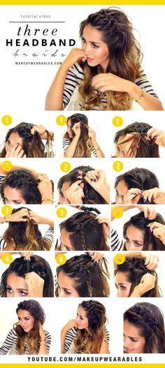 "makeupwearableshairstyles: "" How to: 3 Easy Headband Braid Hairstyles Tutorial Cute braided half-up half-down updos for school work everyday. """