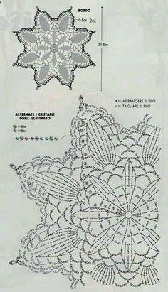 World Crochet: Motif 296 - Diy Crafts Crochet Dollies, Crochet Stars, Crochet Circles, Crochet Snowflakes, Thread Crochet, Crochet Flowers, Crochet Stitches, Crochet Doily Diagram, Crochet Doily Patterns