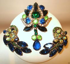 Vintage Weiss Pin & Clip Earring Set Blue, Green & A/B Rhinestone c.1950's #Weiss #Vintagec1950s #VintagePinClipEarrings