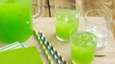Pineapple juice and ginger ale is the key to creating this refreshing green punch that serves 16.