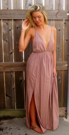 Taupe Deep Front Maxi with Slit