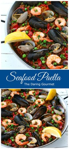Traditional Spanish Seafood Paella.  This one-pot dish is easy to make and soooo delicious!