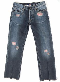 ENERGIE Jeans 30 x 33 RARE Distressed Plaid Patches Straight Leg Denim Italy #ENERGIE #ClassicStraightLeg