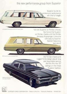 1967 Pontiac Hearses and Limousine by Superior