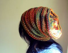 Knit Oversized Slouchy Hat Wool Acrylic Mixture Hippie Chunky Beanie Boho Beret Men Women Spring Summer Fall Winter Clothing Accessory by GrahamsBazaar, $34.99