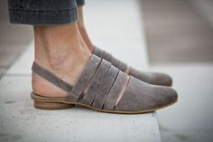 Interesting look - I like!! 10 Sale Grace Grey Leather Sandals Flat Summer Shoes by abramey,
