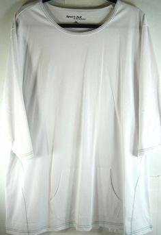 Sport Tek Women S/S Shirt Size 4 XL White 100% Cotton Pockets NEW.  XXX 42 #SportTek #BasicTee