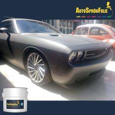 Dodge Challenger im coolen neuen Look: ASF eisengrau + schwarz + Perleffekt Pigment#pearleffect #black #gunmetalgrey #autospruehfolie #flüssiggummi #liquidrubber #tuning #dodge #dodgechallenger #ASF