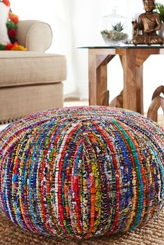 Pier bold Chindi Floor Pouf is a natural for the boho trend. It makes a powerful statement of individuality with its hand-woven strips of colorful cotton fabric. Work it into a neutral room for a bright pop of color, or place it anywhere you want to e Floor Pouf, Floor Pillows, Modern Bohemian, Bohemian Decor, Ethnic Decor, Sisal, Boho Trends, Color Pop, Sofa Throw